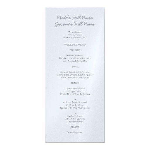 """Menú gris plateado pintado del boda de los puntos invitación 4"""" x 9.25"""""""