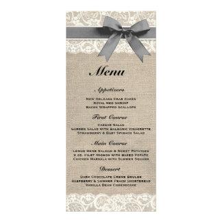 Menú gris rústico de la arpillera y del boda del c lona publicitaria