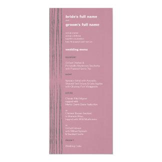 """Menú gris y rosado de la paloma del boda invitación 4"""" x 9.25"""""""