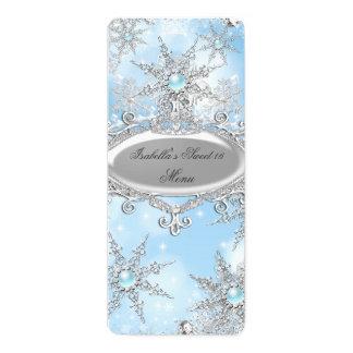 Menu Icy Blue Princess Winter Wonderland Sweet 16 Card