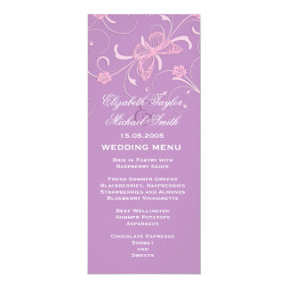 """Menú ideal elegante del boda de la mariposa de la invitación 4"""" x 9.25"""""""