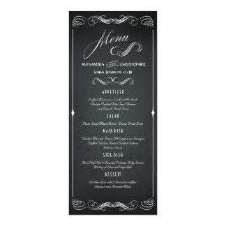 """Menú intrépido del boda de la tipografía del invitación 4"""" x 9.25"""""""
