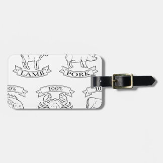 Menu items or food labels tags for luggage