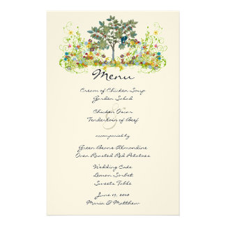 Menú mágico del boda del bosque del cuento de  papeleria de diseño