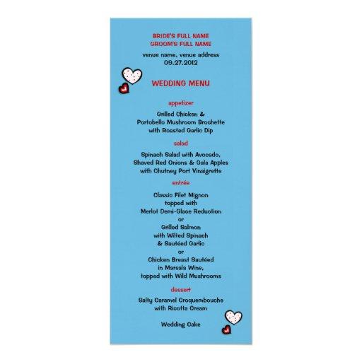 Menú manchado del boda de la turquesa de los invitación 10,1 x 23,5 cm
