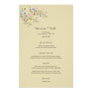 Menú maravilloso caprichoso del boda del jardín de tarjetas informativas