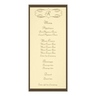 Menú marrón del boda del monograma tarjeta publicitaria a todo color