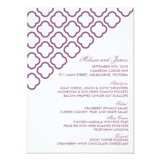 """Menú moderno de encargo del boda del quatrefoil invitación 5.5"""" x 7.5"""""""