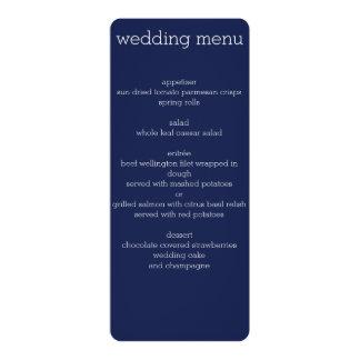 Menú moderno del boda de los azules marinos invitacion personalizada