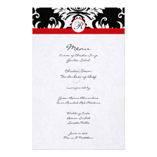Menú negro del boda de la franja roja del damasco papeleria de diseño