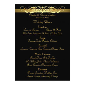 """Menú negro del boda de la grande duquesa voluta invitación 5"""" x 7"""""""