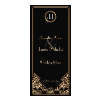 Menú negro del boda del estilo de Gatsby del art Tarjeta Publicitaria Personalizada