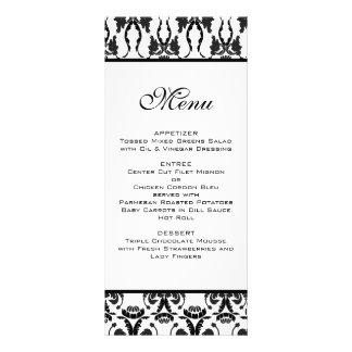 Menú negro y blanco del boda del damasco tarjeta publicitaria a todo color