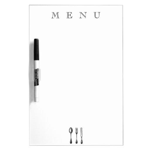 Menú o lista tradicional del ultramarinos con los  pizarras blancas de calidad