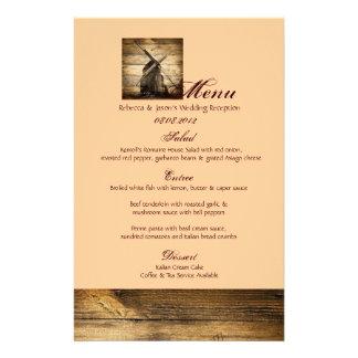 menú occidental del boda del país del molino de vi papelería