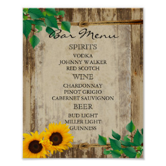 Menú para un boda - girasol de la barra póster