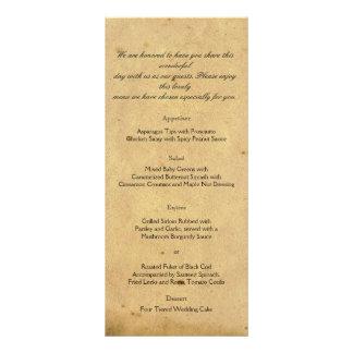 Menú pasado de moda del boda del pergamino de la e tarjetas publicitarias personalizadas