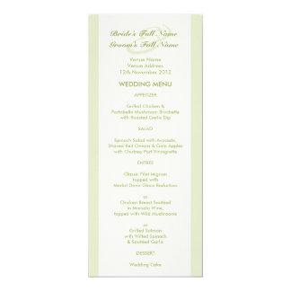 """Menú poner crema verde del boda del tulipán invitación 4"""" x 9.25"""""""