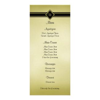 Menú pulido del boda del monograma del negro del o tarjeta publicitaria a todo color