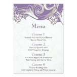 Menú púrpura del boda del FALSO efecto de papel Comunicado