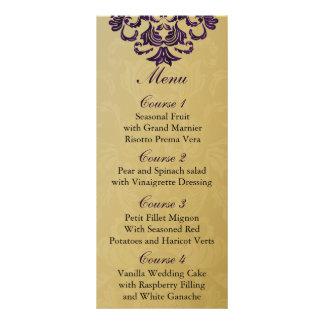 menú púrpura del boda del oro