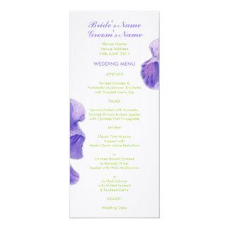 """Menú púrpura del boda del verde del iris invitación 4"""" x 9.25"""""""
