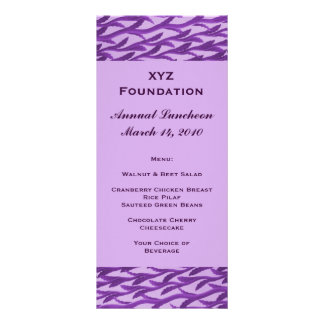 menú púrpura del modelo de la rama tarjeta publicitaria