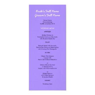 """Menú púrpura pintado del boda de los puntos invitación 4"""" x 9.25"""""""