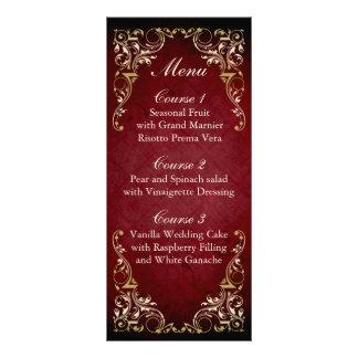 menú real del boda del oro rojo rústico