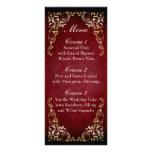 menú real del boda del oro rojo rústico tarjetas publicitarias personalizadas
