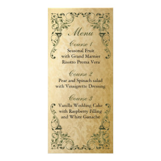 menú real verde rústico del boda