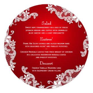 """Menú redondo rojo del cordón blanco del país del invitación 5.25"""" x 5.25"""""""
