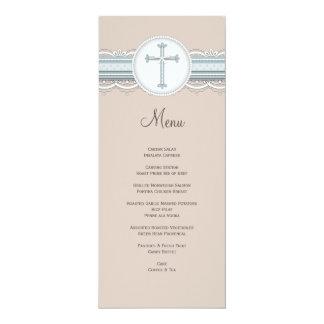 """Menú religioso cruzado beige de la celebración de invitación 4"""" x 9.25"""""""