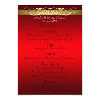 """Menú rojo del boda de la grande duquesa voluta invitación 5"""" x 7"""""""