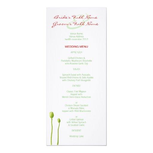 Menú rojo del boda de la manzana de la amapola invitación 10,1 x 23,5 cm