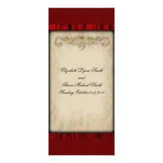 Menú rojo del boda del gótico de la seda y del per lonas personalizadas