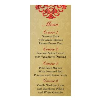 menú rojo del boda del oro