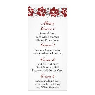 menú rojo floral del boda