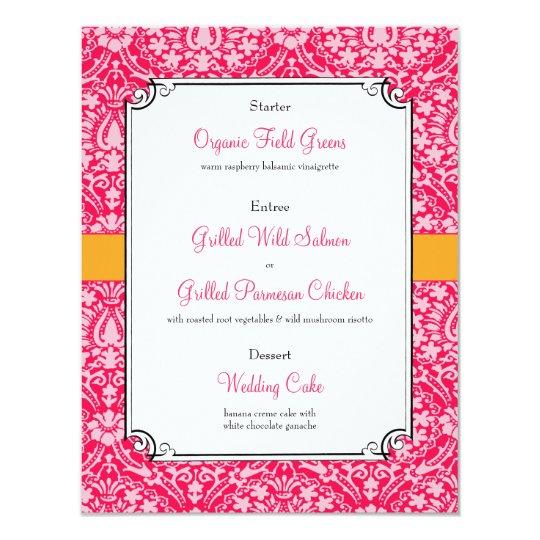 """Menú rosado de la cena de la recepción nupcial del invitación 4.25"""" x 5.5"""""""