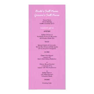 """Menú rosado pintado del boda de los puntos invitación 4"""" x 9.25"""""""