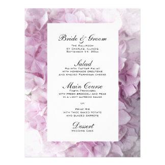 "Menú rosado suave del boda del Hydrangea Folleto 8.5"" X 11"""