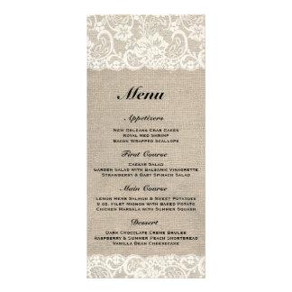 Menú rústico de la arpillera y del boda del cordón tarjeta publicitaria personalizada