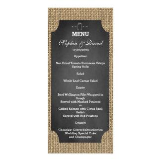 Menú rústico del boda de la arpillera del tarro de diseños de tarjetas publicitarias