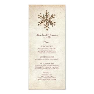 """Menú rústico del boda del copo de nieve del invitación 4"""" x 9.25"""""""
