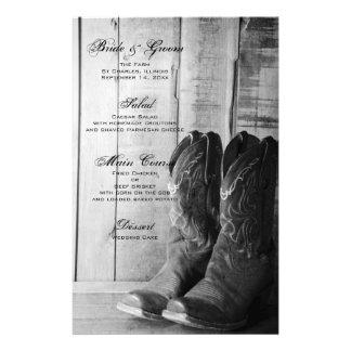 Menú rústico del boda del país de las botas de papelería