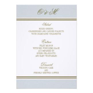 Menú simple del boda del azul francés de la raya comunicados personales
