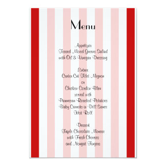 Menu - Stripes (Parallel Lines) - White Red Card