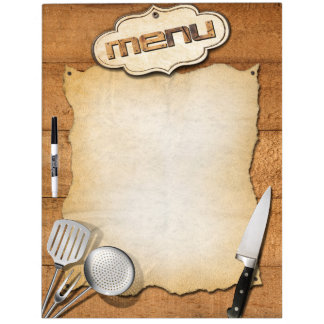 Menu table brown dry erase board