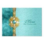 menu teal gold damask bling 5x7 paper invitation card