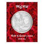 Menu template - customizable red rose photo insert custom invites